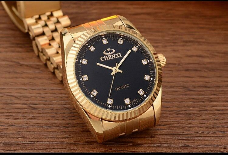 CHENXI Роскошные парные часы золотые модные часы для влюбленных из нержавеющей стали Кварцевые наручные часы для женщин и мужчин аналоговые наручные часы