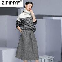 2018 Новый осень зима комплект из 2 частей Для женщин длинный рукав, пуловер свитер + до середины икры юбка трапеция комплект леди взлетно поса