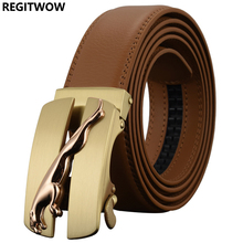 REGITWOW Men`s Fashion Automatic Buckle Leather luxury Man cinturones hombre cinto Belt Leopard Alloy buckle Belts for Men