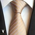 Дизайн одежды 8 см Галстук Классический Уникальный Старинный Золотой Полосатый Cravata Высокое Качество Классический Господа Тканые Gravata для Взрослых