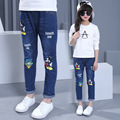 2017 Teenage Girls Denim Trousers Children Jeans For Girls Kids Clothes Cartoon Waist Denim Pants Baby Girls Casual Pants 3-13T