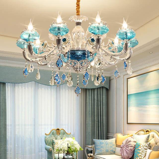 Moderne Glas-kronleuchter Wohnzimmer Led-lampen kronleuchter Schlafzimmer  Atmosphäre Französisch Blau Zink-legierung Kristall-kronleuchtern