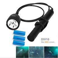 Nitesun/Brinyte DIV10 LED Diving Light CREE XML2 3000lm LED Scuba Diving Torch Flashlight 200M Underwater Lamp + 3* battery