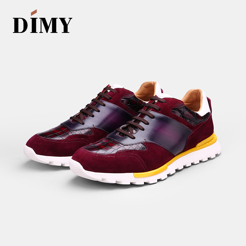 DIMY Handmade Custom Men's Leather Shoes Dress Casual Shoes Fashion England Wind Casual Shoes Hand-painted Crocodile Shoes