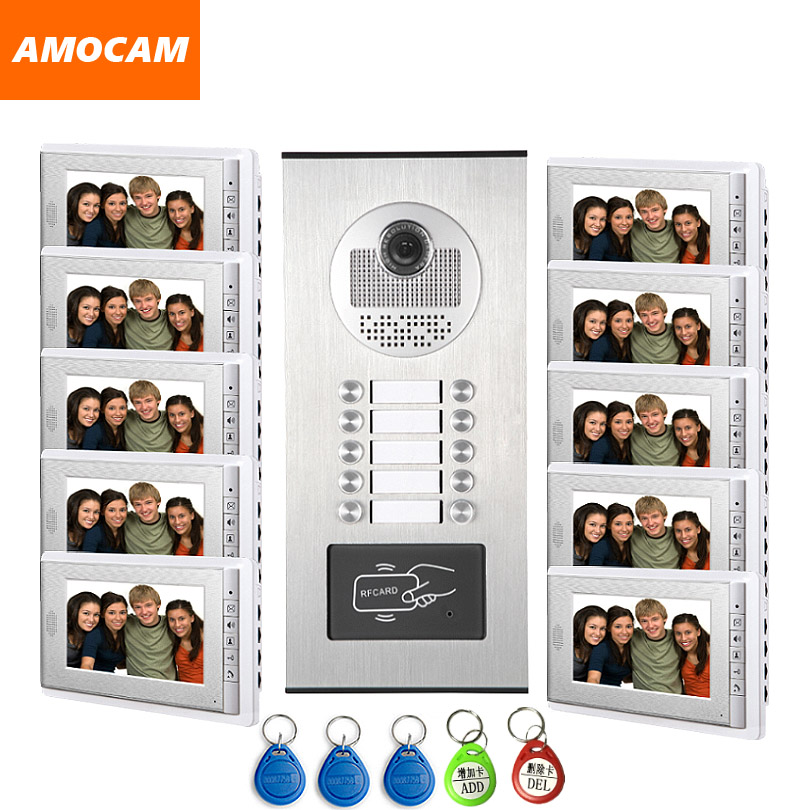 "10 Units Video Intercom Apartment Door Phone System HD Camera 7"" Monitor video Doorbell with 5-RFID Card Unlock for 10 Household"