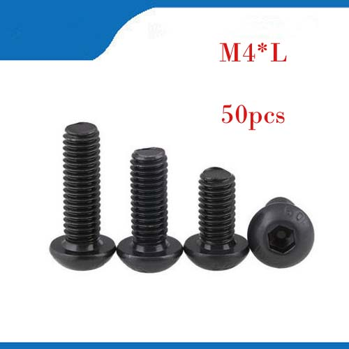m4 screw 50Pcs Steel M4 Screws Hex Socket Round Head Cap Black Screw Wood Furniture Fastener Bolt M4 *6mm/8mm/10mm/12mm 60pcs box stainless steel m4 screw kits hex socket head cap screws m4 6 8 12 16 20 25mm fastener assortment kit hardware tools