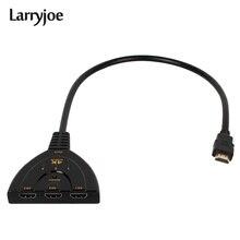 Larryjoe 4K * 2K 3D Mini 3 Cổng Switch HDMI 1.4b 4K Switcher Bộ Chia HDMI 3 trong 1 Cổng ra Trung Tâm cho DVD HDTV Xbox PS3 PS4 1080P
