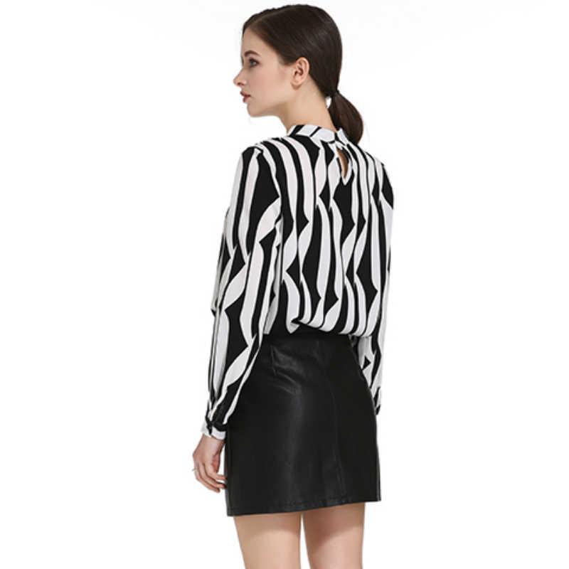 991dba7357a ... Модная женская блузка со стоячим воротником офисная блузка женская  шифоновая блузка рубашка черного цвета белый в
