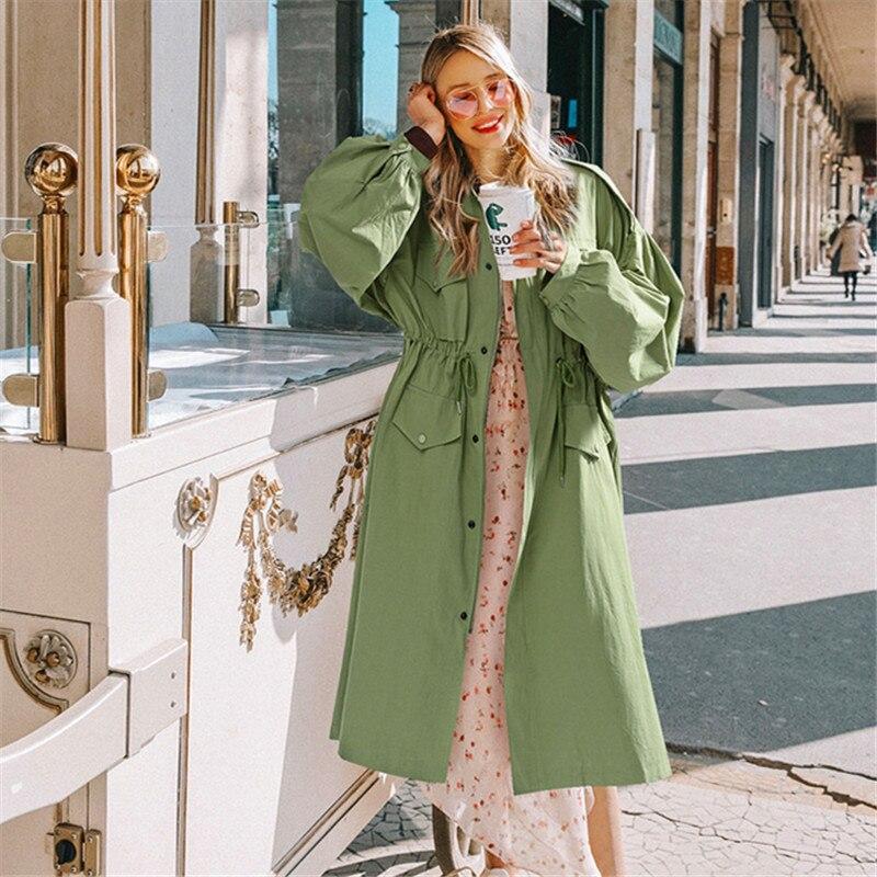 Women Long   Trench   Coat Spring 2019 Lace Up Waist Lantern Sleeve Pocket Coat Women Solid Windbreaker Coats Female Plus Size