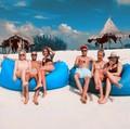 Big Size Beach Portable Outdoor Inflatable Bone Furniture Sofa Hammock Sleeping Camping Air Bed Nylon Lazy Air Sofa Bag