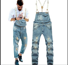 Fashion males's slim ankle size bib pants Male gap ripped denim denims Suspenders overalls Jumpsuits for males