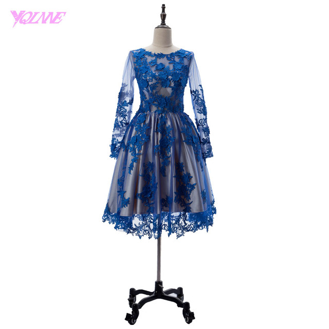YQLNNE 2018 Royal Blue Short Prom Dresses Full Sleeve Lace Party ...