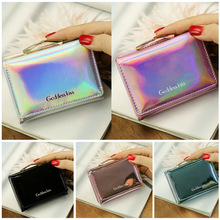 US $2.87 33% OFF|2019 Newest Hot Women Short Small Coin Purse Wallet Ladies Leather Folding Card Card Holder Laser Colorful Coin Purses-in Coin Purses from Luggage & Bags on AliExpress