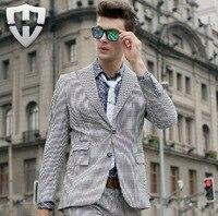 MWAMI High Quality 2015 Men Super Slim Fashion Small Plaid Autumn Winter Business Wedding Groom Single Breasted Suits Blazers