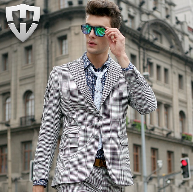 MWAMI High Quality 2015 Men Super Slim Fashion Small Plaid Autumn Winter Business Wedding Groom Single Breasted Suits Blazers