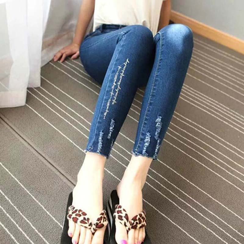 Women Jeans Large Size High Waist Autumn Summer Blue Elastic Long Short Skinny Slim Jeans Trousers