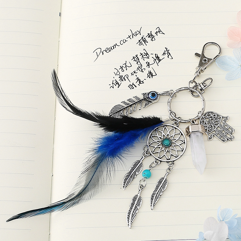 Magischer Schlüsselanhänger mit Traumfänger, Federn, Hand der Fatima und Kristall Anhänger Feder 3