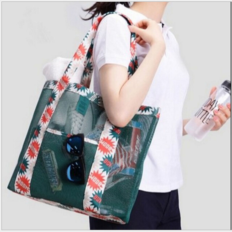 Storage-Bags Sunglass Tote Large-Capacity Clothing Outdoor Flower Print Oxford Beach-Mesh