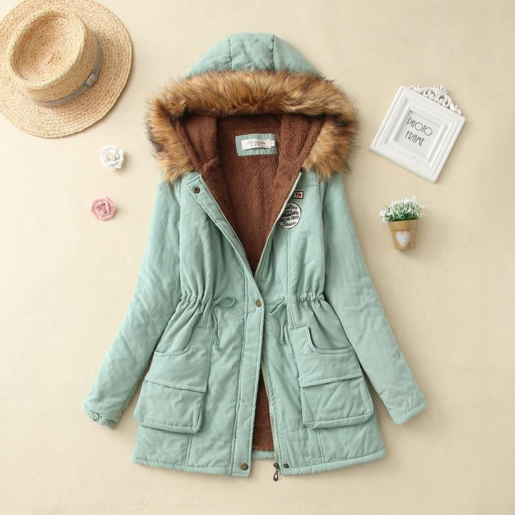 19 Winter New Women's Hooded Fur Collar Waist And Velvet Thick Warm Long Cotton Coat Jacket Coat 16