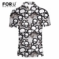 FORUDESIGNS New Business&Casual Slim Fit Polo Shirt Men 3D Skull Printing Male Polo Shirt Short Sleeve Breathable Brand Clothing
