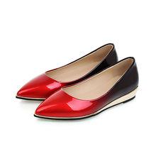 Большой Размеры повседневные летние женские туфли-лодочки низкий металлик танкетка острый носок градиент Лакированная кожа Осенняя пикантная деловая модельная одежда женские туфли-лодочки