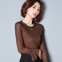 Fall Clothes 2017 New Female Spring And Autumn Flare Sleeve Tshirts Women Round Collar Stripe Mesh