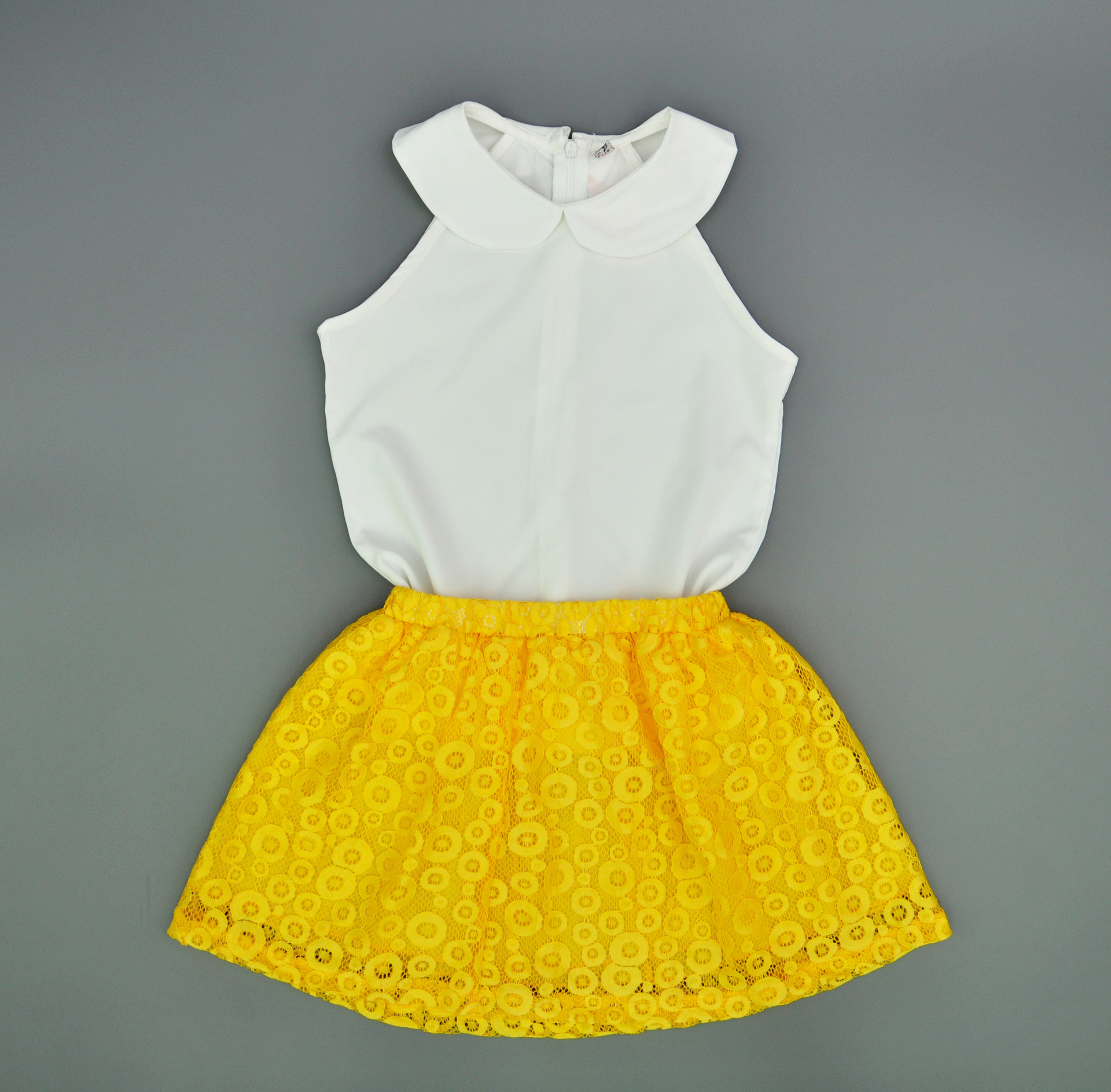 Kids Toddler Girls Clothing White Sleeveless Summer Tops Yellow Baby Girl Lace Flowers Dress Skirts Clothes Outfit Suit Set summer casual denim newborn toddler baby girl clothing kids off shoulder crop tops shorts outfit clothes set