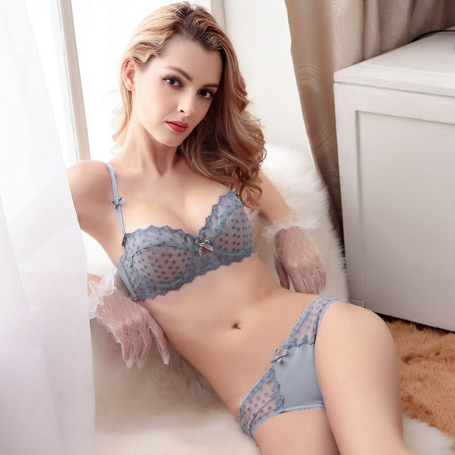 39279d33ec Free shipping New arrival Fashion women s sexy plus size bra lace royal  ultra-thin bra set