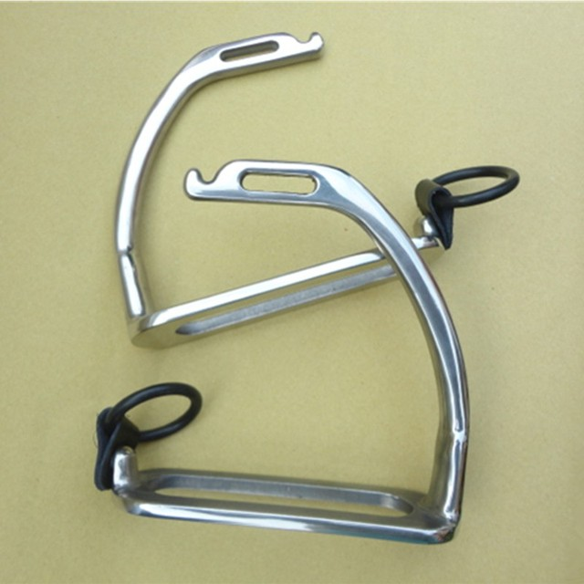 Stainless Steel Peacock Stirrup With Rubber Ring And Leather Strap Horse Stirrup Without Pad Horse Equipment - Free Shipping 2