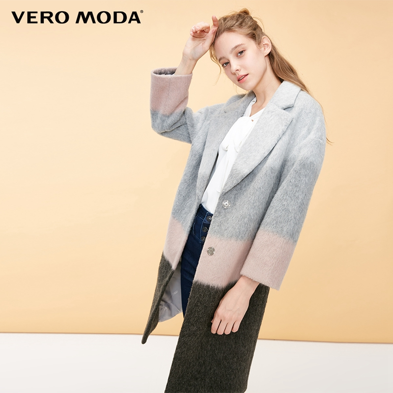 Kadın Giyim'ten Yün ve Karışımları'de Vero Moda yeni stil 47% yün renk eşleştirme düğme yün ceket kadın  318427513'da  Grup 1