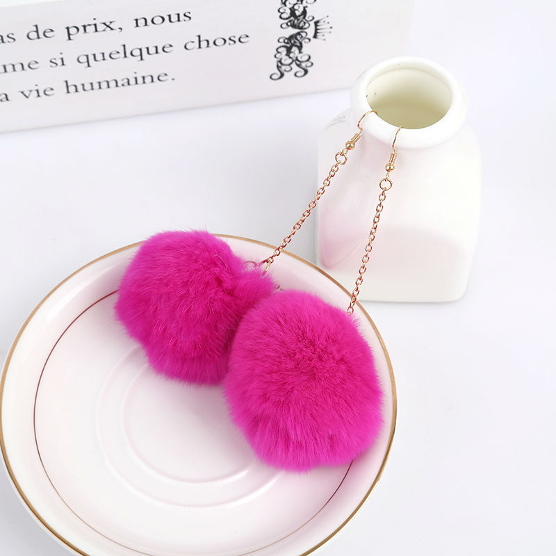 Véritable fourrure de lapin Pom Pom Ball Dangle Boucles d'oreilles - Bijoux fantaisie - Photo 5