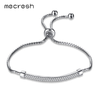 Mecresh 925 Sterling Silver Dangle Charme Pulseiras para Mulheres Pulseras Geométrica Jóia Do Casamento 2017 Moda Primavera MSL296