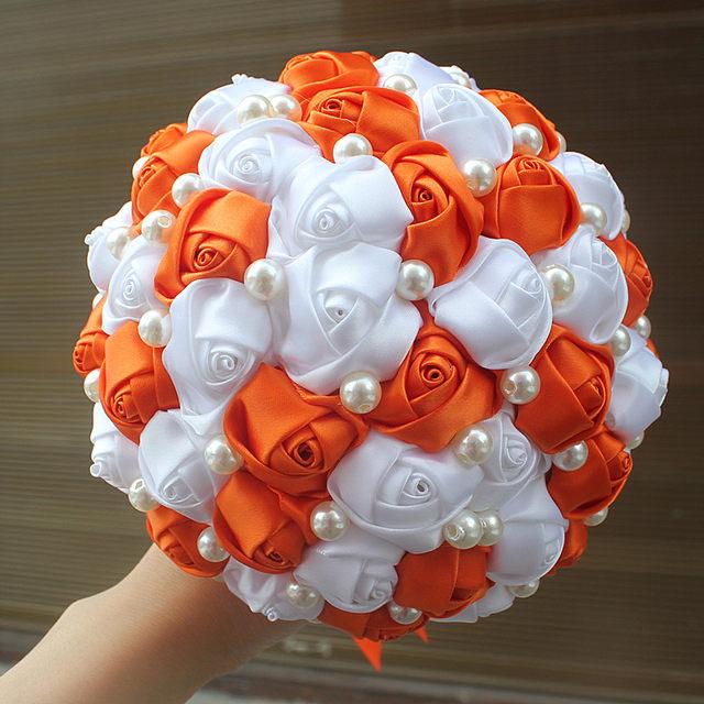 Online shop orange white rose flower pearl beads bridal wedding image mightylinksfo
