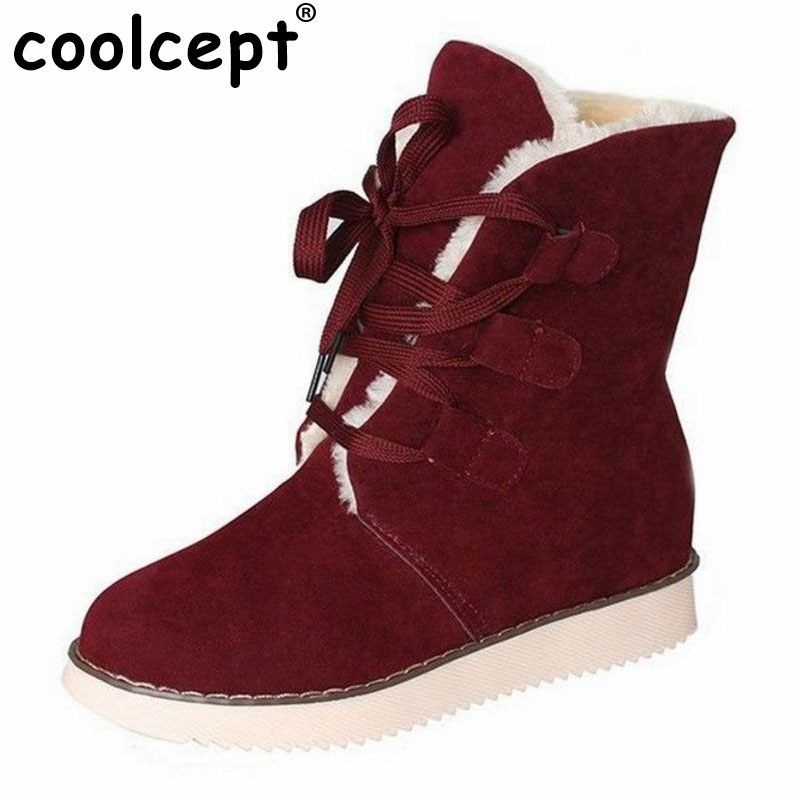 Coolcept size 35-40 ross strap flat mid calf boots women thickened fur winter warm snow half short boot footwear shoes P21267