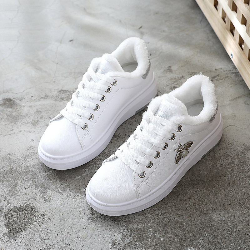 ... Winter Fashion Lace Up Leather Bee Women White Shoes Platforms Sneakers  Peluche for Flats Bling Sliver Shoes Woman. -40%. Click to enlarge 30114431c71f