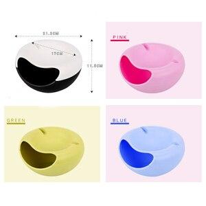Image 5 - Commodité en plastique Double couche fruits secs conteneurs collations graines boîte de rangement sac à ordures plat plat organisateur