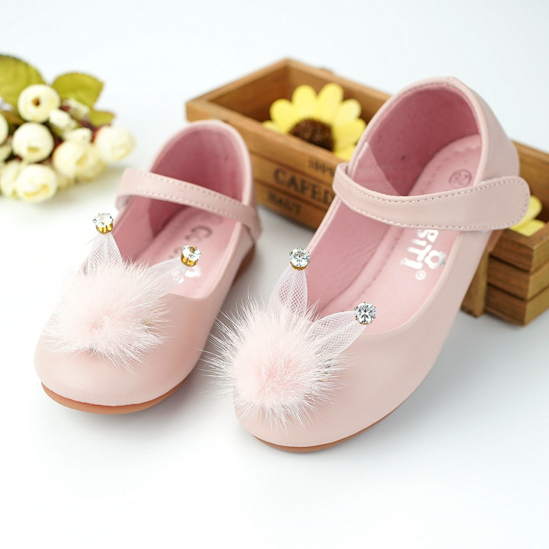 qloblo Girls Cute Rabbit Leather Shoes 2018 New Party Shoes for Girls Flower Wedding Children Single Student Princess Baby shoes