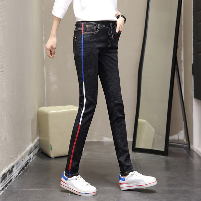 2f2bf53e51 Black Pants Red Stripe Jeans Womens High Waisted Stretchy Skinny Jeans  Ladies Slim Bootcut Jeans Stretch