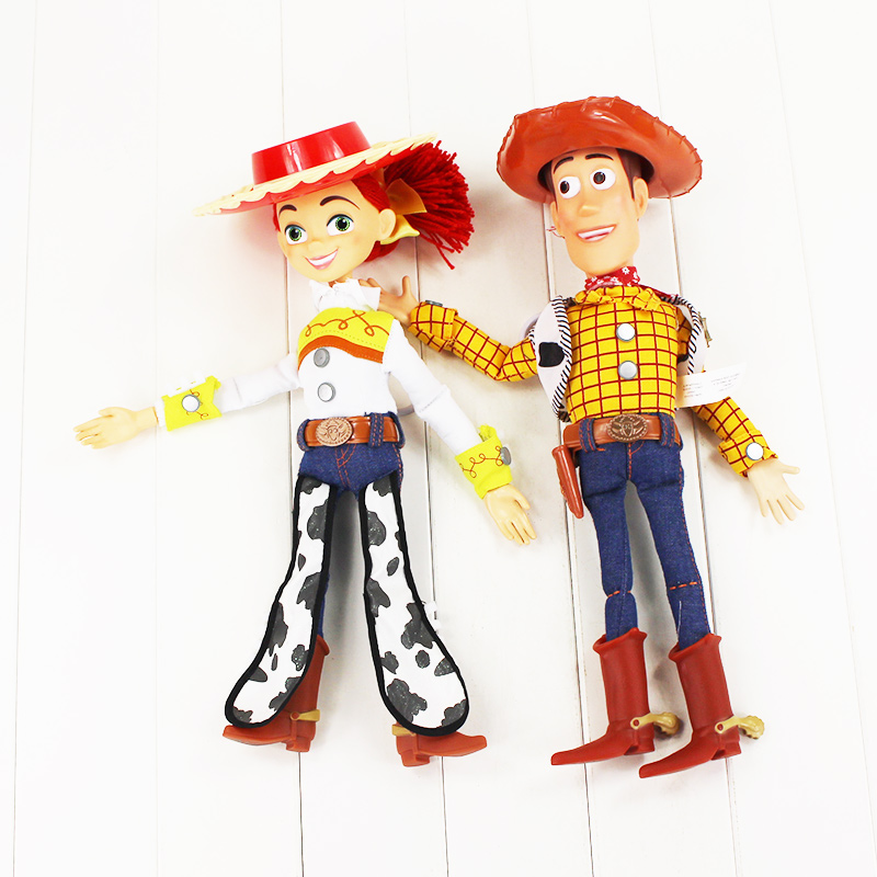 Big Size Toy Story 3 Talking Woody Toy Story Jessie 45cm PVC Action Figure Collectible Model Toy Doll With Box  toy story 3 talking woody jessie pvc action figure collectible model toy doll dsfg268