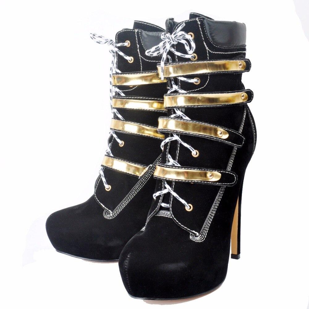 Plus Hauts Cheville Initiale Femme Mode Nous 4 Rond Taille Noir De Bout Minces Talons 15 Bottes Ef0133 Femmes Nouveau Chaussures Élégant L'intention wp7Iaqvv