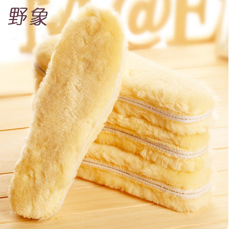 Winter warm heated insoles Natural Sheepskin Insole Cashmere Thermal Shearling Snow Boots Shoes man and women