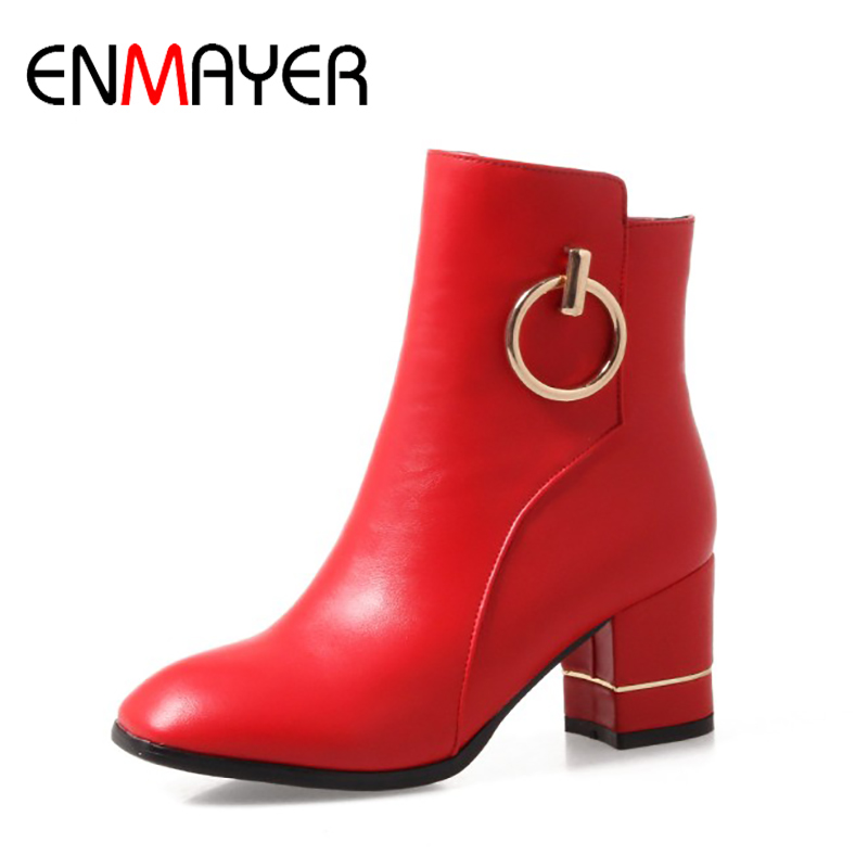 ENMAYER Woman Square Heel High Heels Shoes Ankle Boots Round Toe Metal Decoration Ladies Solid Large Size 34-46 Spring/Autumn enmayla ankle boots for women low heels autumn and winter boots shoes woman large size 34 43 round toe motorcycle boots