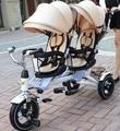 Cochecito de bebé gemelo niños triciclo triciclo bicicleta cochecito doble