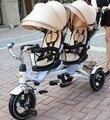 Gêmeo carrinho de bebê triciclo crianças bicicleta triciclo carrinho duplo