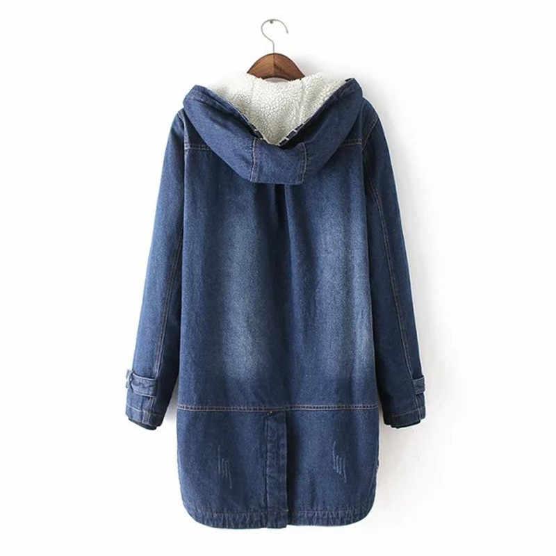 Cộng với kích thước S-3XL Mùa Đông Denim Áo Khoác Phụ Nữ Mới Dày Jeans quần áo Ấm Trùm Đầu Denim Giản Dị Coat Thêm Len Phụ Nữ Cơ Bản áo khoác