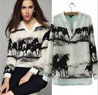 Elegant Ladies Long Sleeve Blouse European Style Horse Printed V Neck White Chiffon Shirt Women Casual