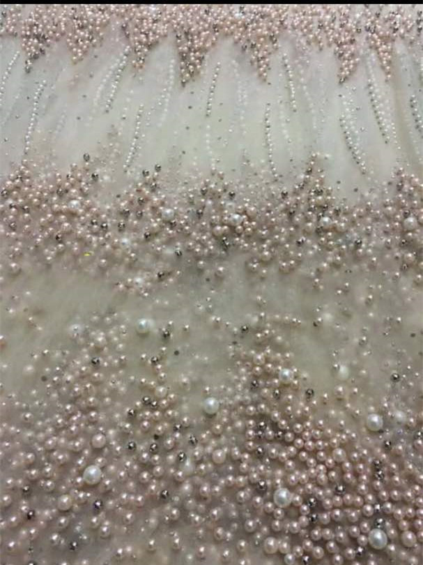 AB001 LUXURY beads pearls good quality tulle mesh lace for evening dress/sawing/wedding