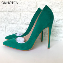 Green Dark Blue Suede High Heels Pumps Women Pointed Toe Slip On 12cm Nude  Shoes Spring 50e30ac0a3e1
