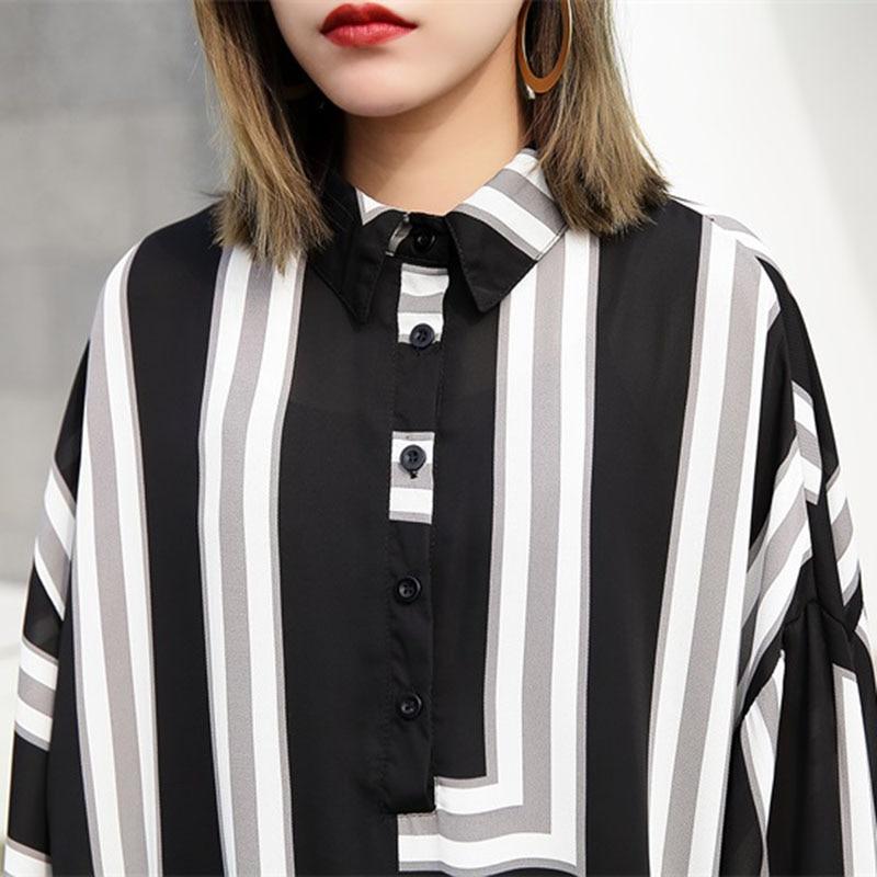 Red Mousseline Soie Été Patchwork T Robe shirt Imprimé Bureau Occasionnel Nouveau Lâche 2018 Bouton Stripe En black Robes Mode Rs35 De Femmes qZRwSnrqT
