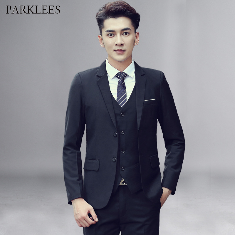 Spring Single Breasted Two Button Suit Men 2019 Brand New Slim Fit Mens Black Suits With Pants Party Wedding Groom 3 Piece Suit